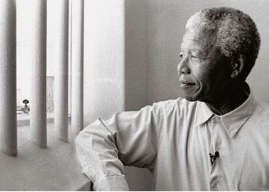 Nelson Mandela re-visiting Robben Island in 1994